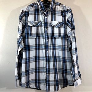Burnside plaid Long-sleeve button-up blue white